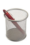 Basket with pen Royalty Free Stock Photography