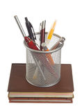 Basket with pens and pencils Stock Photos