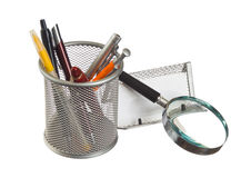 Basket with pens and pencils Royalty Free Stock Photos
