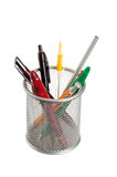 Basket with pens and pencils Stock Images