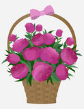 Basket peonies rustic bouquet holiday Valentine Day gift love romantic Royalty Free Stock Image