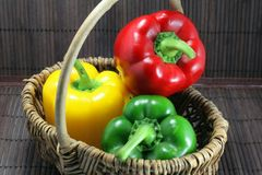 Basket of peppers Royalty Free Stock Photo