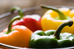 Basket of peppers Stock Photos