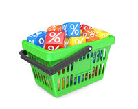 Basket with percent cubes Royalty Free Stock Images