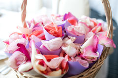 Basket with petals Stock Photography