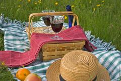Basket of picnic. In grass posed on a tablecloth with with wine glasses Stock Photos