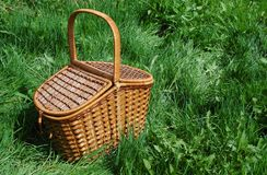 The basket for picnic. Royalty Free Stock Photo