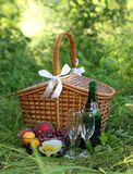 Basket for picnic. With fruit Stock Image