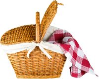 Picnic Basket with napkin on white background royalty free stock photography