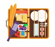 Open basket for a picnic with tableware and foods vector illustration. Basket for a picnic with tableware and foods vector illustration stock illustration