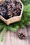 Basket with pine cones on wooden background Royalty Free Stock Photos