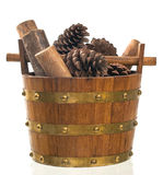 Basket with pine and wood Stock Photography