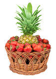 Basket of pineapple and strawberry Stock Photo