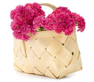 Basket with pink roses Stock Photo