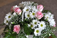 Basket of Pink Roses and White Daisies Stock Image