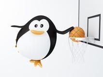 Basket player. Fat basket player penguin - 3D render Stock Image