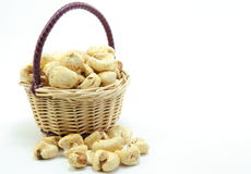 Basket with popcorn. I was shooting, candy pop popcorn is called in Japan, with a basket Royalty Free Stock Photo