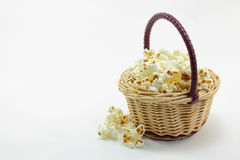 Basket with popcorn. I was shooting popcorn with a basket Stock Photography