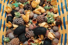 Basket of Potpourri. Beautiful detailed view of everyday Potpourri in a Basket closeup stock images