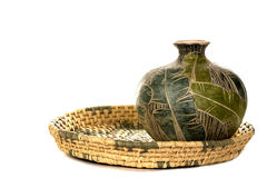 Basket and Pottery Royalty Free Stock Images