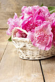 Basket of pretty pink peonies Stock Image