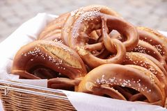 Basket of pretzels Royalty Free Stock Images