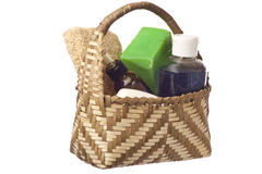Basket with products for personal hygiene Stock Photo