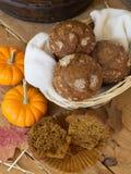 Basket of Pumpkin Muffins Stock Photography