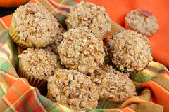 Basket of Pumpkin, Pecan and streusal muffins Royalty Free Stock Photography