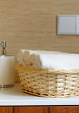 Basket of pure white towels Stock Images