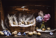 Basket with quail eggs and feathers and spring flowers Hyacinths  bunch on vintage wooden table, over rustic background, side view Stock Photo