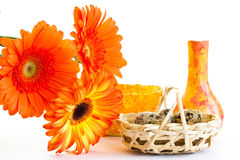 The basket with quail eggs and opange gerbera Stock Photo