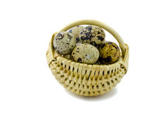 Basket with quail eggs   on white background Royalty Free Stock Image