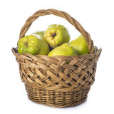 Basket with quinces isolated on white background Royalty Free Stock Photography