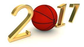 Basket 2017 år på en vit bakgrund Arkivbilder