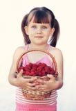 Basket of raspberries stock photos