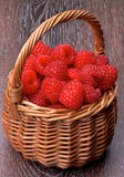 Basket with Raspberries Stock Photo