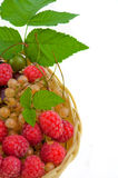 Basket with a raspberry, a cherry and a gooseberry Royalty Free Stock Photos