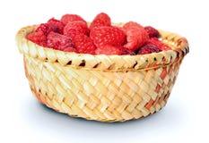 Basket with raspberry Royalty Free Stock Photos