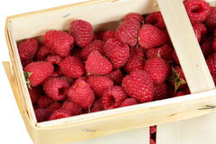 Basket with raspberry on a white background Stock Photography