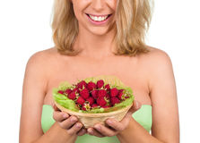 Basket with raspberry in woman hands Royalty Free Stock Photography