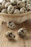 Basket with raw Quail eggs. Basket with fresh raw Quail eggs Royalty Free Stock Photo