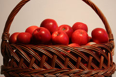 Basket of red apples. Basket of testy and appetizing red apples Royalty Free Stock Image