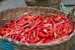 Basket of red chilly pepper asian street market Stock Images