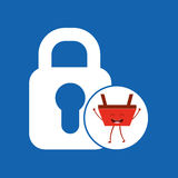 Basket red commerce padlock icon. Vector illustration eps 10 Stock Photography