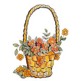 Basket with red flowers. Royalty Free Stock Image