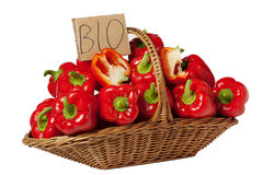 Basket of Red Peppers Stock Photos