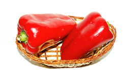 Basket of red peppers Royalty Free Stock Photography