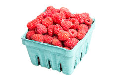 Basket of Red Raspberries isolated on white Royalty Free Stock Photos