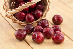 Basket with red ripe cherries Royalty Free Stock Photography